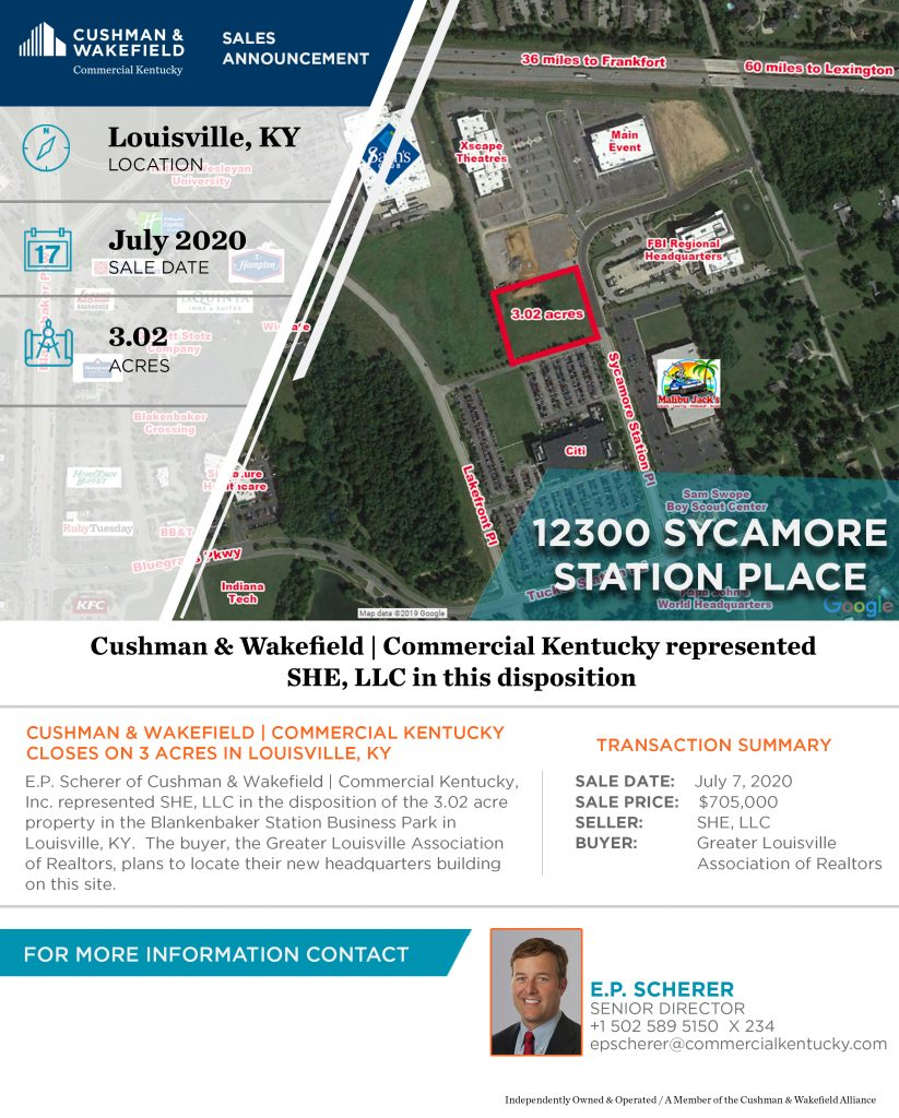 12300 Sycamore Station Place Sales Announcement for a featured property listing for Cushman & Wakefield   Commercial Kentucky