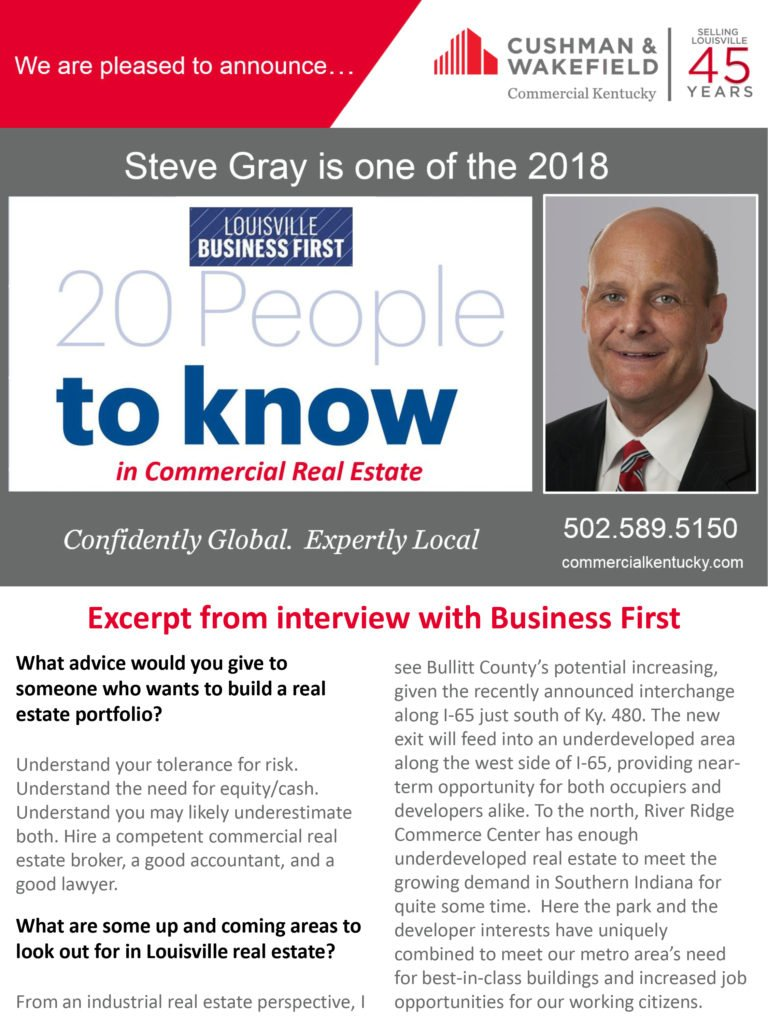 Steve Gray named 20 People to Know in Commercial Real Estate by Louisville Business First