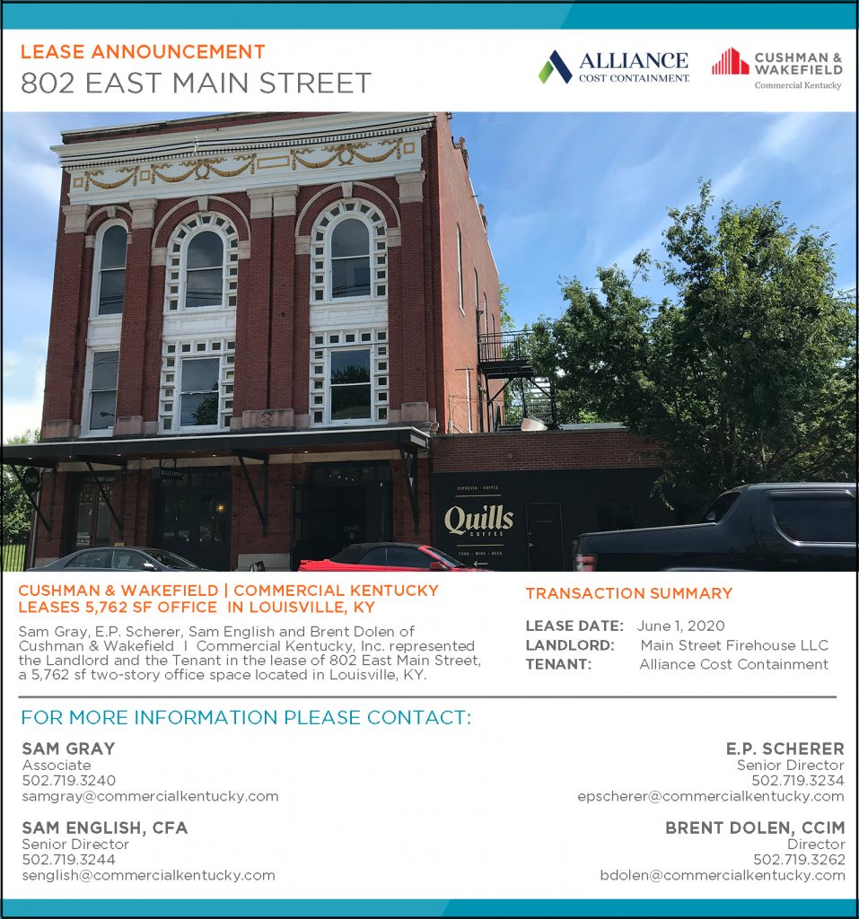 802 East Main Street Announcement - a featured property listing for Cushman & Wakefield   Commercial Kentucky